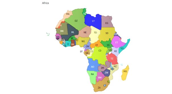 A map of African countries.