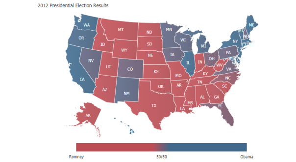 A thematic election map with a smartPalette tuned to have a higher resolution center.